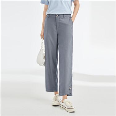 Button cuffs half elastic waist pants