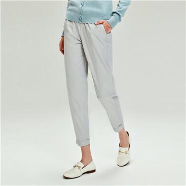 女裝素色純棉抽繩腰頭反折九分休閒褲