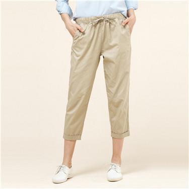 Elastic waistband straight ankle-length pant
