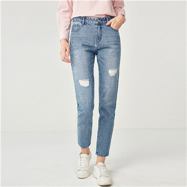 Distressed straight ankle-length denim jeans