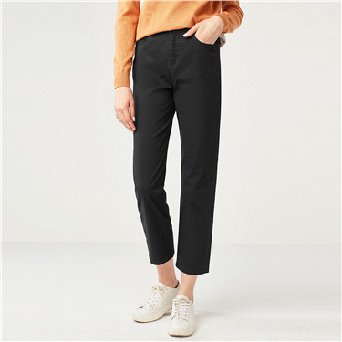High rise solid casual ankle-length pants