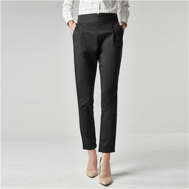 Elastic waist casual ankle-length pants