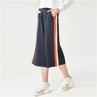 Interlock contrast color calf-length wide-leg pants
