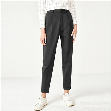 Stretchy solid straight ankle-length pants