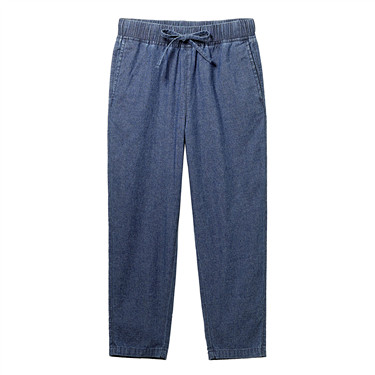 Drawstring cotton thin ankle-length denim pants