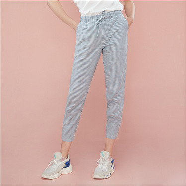 Drawstring thin ankle-length denim pants