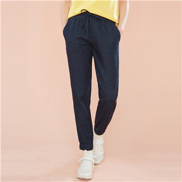 Elastic ankle-length denim joggers