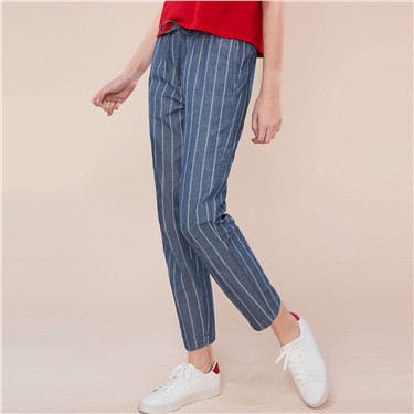 Drawstring calf-length denim pants