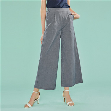 High rise ankle-length wide-leg pants