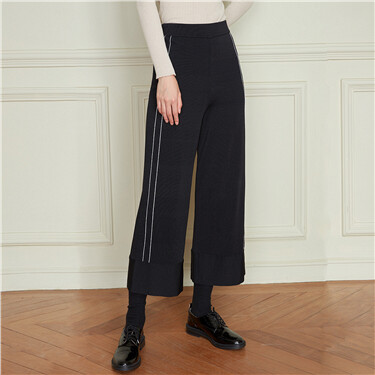 Contrast color ankle-length wide-leg pants