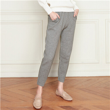 Solid elastic waistband ankle-length pants