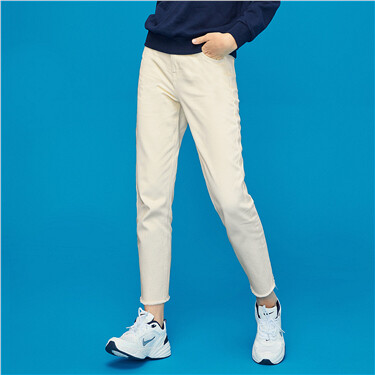 Rough edge ankle-length pants