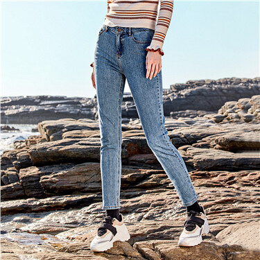 Five-pocket ankle-length denim jeans
