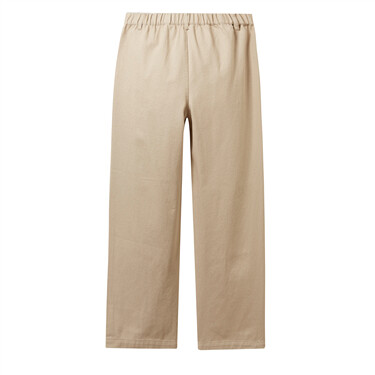 Elastic waist wide-leg ankle-length pants