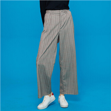Elastic Waistband Wide Legs Ankle-Length Pants