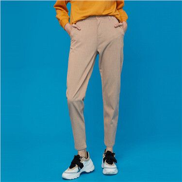 Elastic waistband mid-rise ankle-length pants
