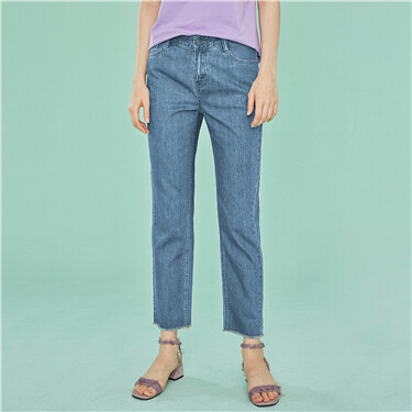 Rough edge denim ankle-length pants