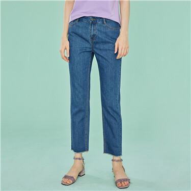 Rough edge denim ankle-length pants