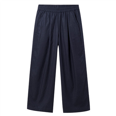 Linen-cotton wide-leg pants