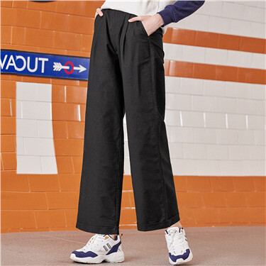Stretchy wide-leg calf-length pants