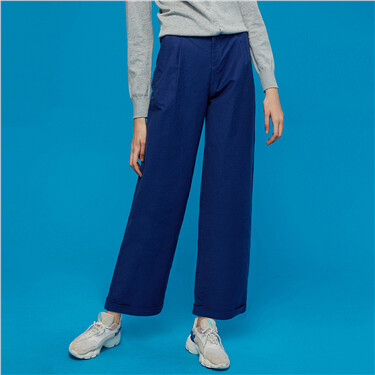 Stretchy wide-leg ankle-length pants