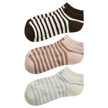 Dot contrast color stripe socks(3 pairs)