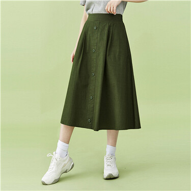 Half elastic waistband mid-long skirt