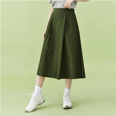 Half elastic waistband mid-lon