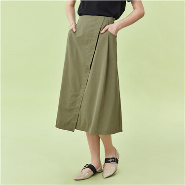 Asymmetrical hem mid-long skirt