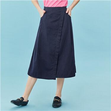 Asymmetrical hem mid-long skirt