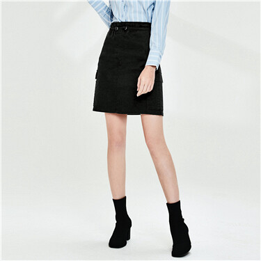 Elastic waistband cargo skirt