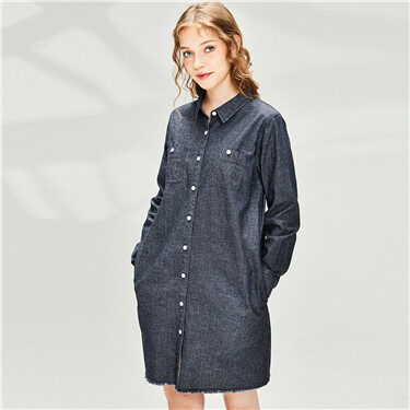 Patch pockets button closure denim dress