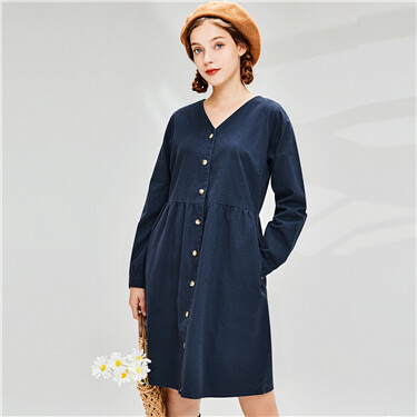 Cotton v-neck faux denim dress