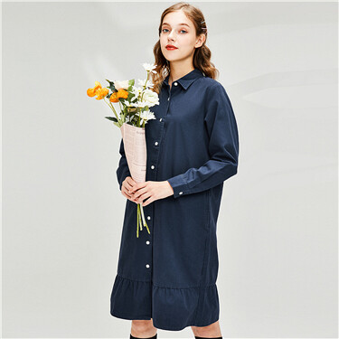 Lotus leaf hem faux denim shirt dress