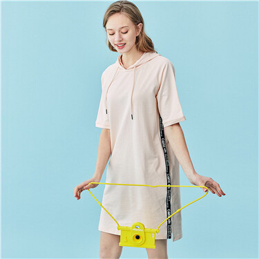 Strap short-sleeve hooded dress