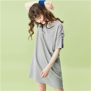 Crewneck strap on sleeves dress