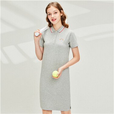 Embroidered rainbow stretchy polo dress