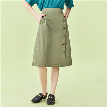 Cotton button closure mid-long skirt