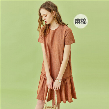 Linen-cotton ruffled hem crewneck dress