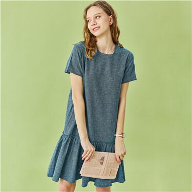 Linen-cotton ruffled hem crewneck dress