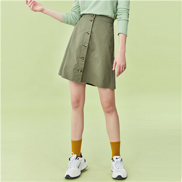 Cotton button closure skirt