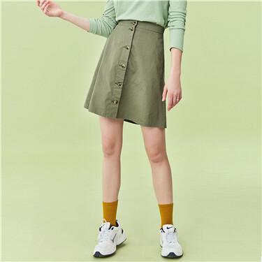 Cotton button closure skirt