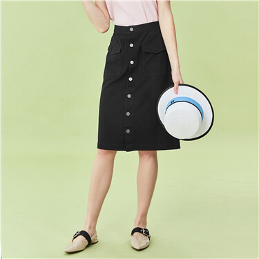 Button closure denim skirt