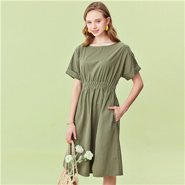 Crewneck elastic waist short-sleeve dress