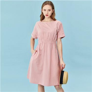 Crewneck elastic waist short-sleeve dress