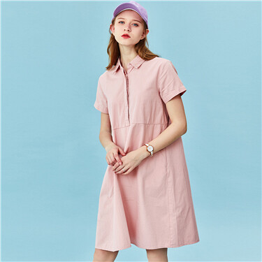 Loose solid turn-down collar dress