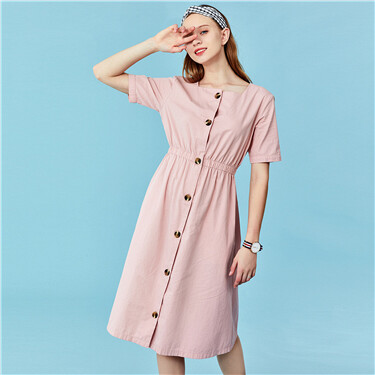 Square neck short-sleeve dress