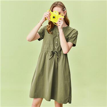 V-neck drawstring at waist short-sleeve dress