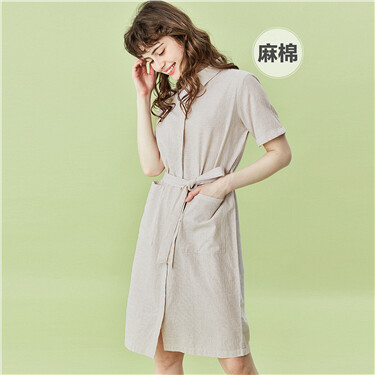 Linen-cotton drawstring at waist dress