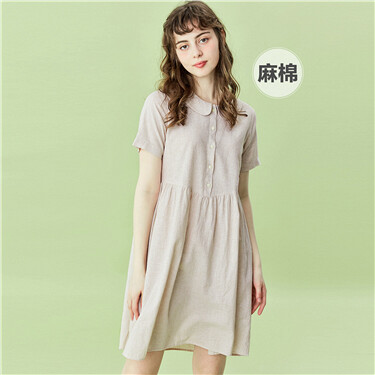 Linen-cotton doll collar dress